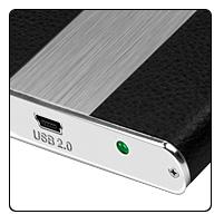 """Raidsonic IB-224StU-B :: Външна кутия за 2.5"""" SATA HDD, корпус от алуминий и кожа, USB 2.0 интерфейс"""