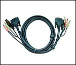 ATEN 2L-7D03U :: DVI KVM кабел, DVI-D M + USB type A M + 2 Audio plugs >> DVI-D M + USB type B M + 2 Audio plugs, 3.0 м